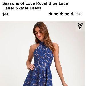 Royal Blue Lace Halter Skater Dress